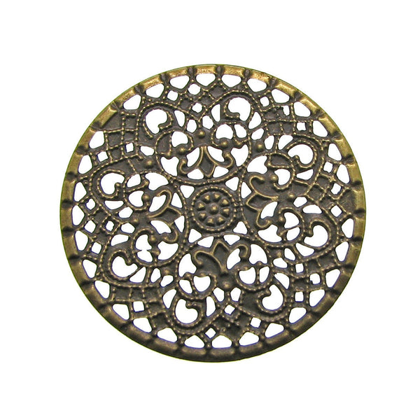 Antique Brass Round Filigree Flower Stampings / Embellishments