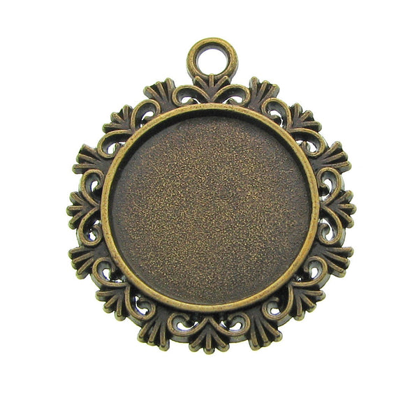 Antique Brass 20mm Round Cabochon Settings / Bronze 20mm Bezels / Pendant Settings [10 pieces] -- Lead, Nickel & Cadmium Free H3J