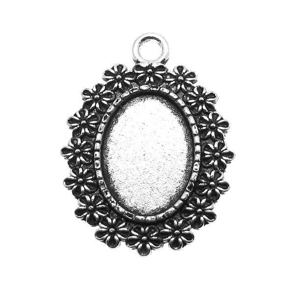 Antique Silver Oval Floral Cabochon Settings / Bezels (Holds 18x13mm Cabochon) [10 pieces] -- Lead, Nickel & Cadmium Free 72653.H2F