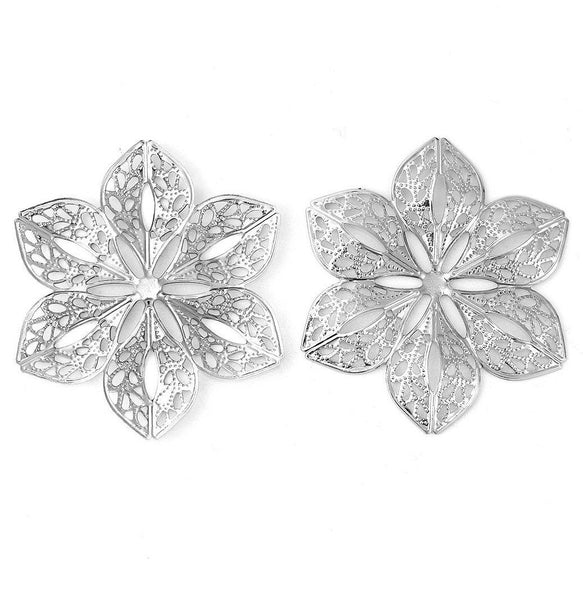 Antique Silver Filigree Flower Stampings / Silver Filigree Embellishment