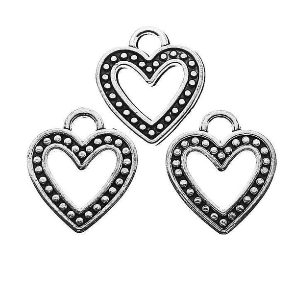 Antique Silver Heart Charms | Silver Heart Pendants [10 pieces]-- Lead, Nickel & Cadmium Free  52905.N