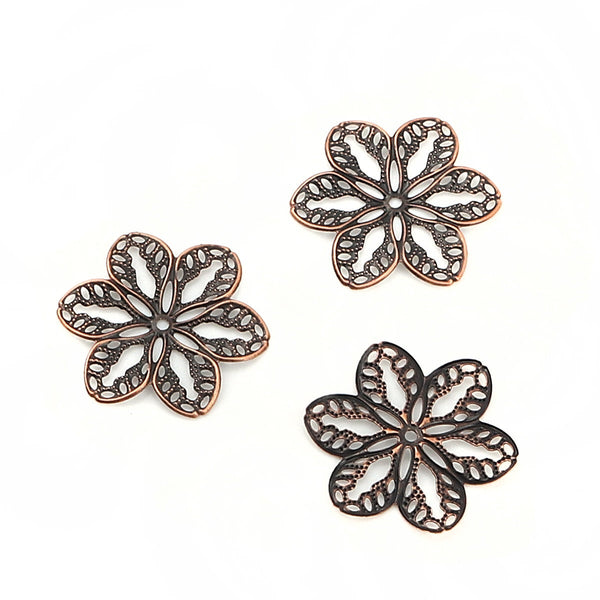 Filigree : 10 Antique Copper Filigree Metal Jewelry Stampings / Filigree 6 Petal Flower Links -- Lead, Nickel & Cadmium Free F113741