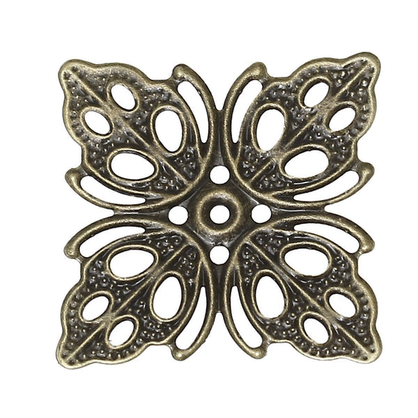 Antique Bronze Square Filigree Metal Jewelry Stampings
