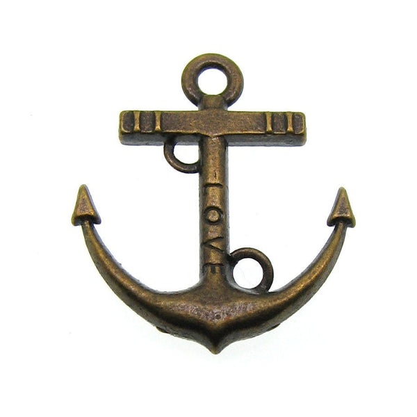 Antique Bronze Love Anchor Links | Nautical Boat Anchor Connectors Perfect for Bracelets [10 pieces] --Lead, Nickel & Cadmium Free 11925.J5C