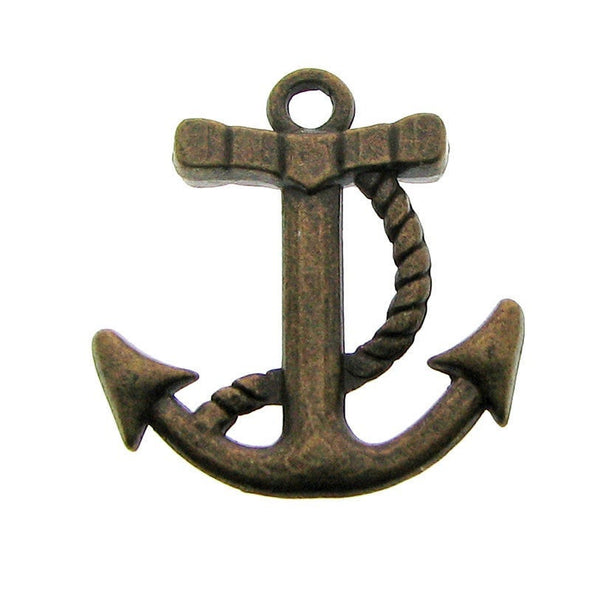 Antique Bronze Nautical Anchor Charms / Brass Ox Boat Anchor Pendants [10 pieces] -- Lead, Nickel & Cadmium Free Jewelry Findings 008.J1I