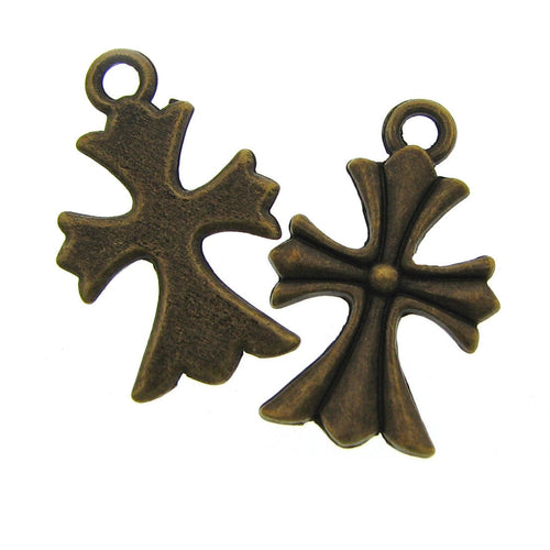 Antique Bronze Cross Charms / Brass Ox Religious Charms [10 pieces] -- Lead, Nickel & Cadmium Free 200553.J6E
