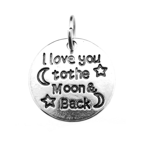 "Add-A-Charm Antique Silver Stamped ""I love you to the Moon & Back"" Charm with Jump Ring [1 piece] -- Perfect for necklace - SCH00901.B5"