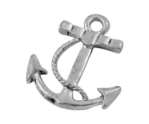 Antique Silver Boat Anchor Charms / Silver Nautical Anchor Pendants [10 pieces] -- Lead & Cadmium Free Jewelry Findings 008.J3F