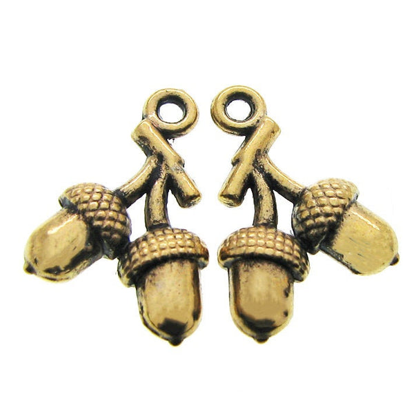 Antique Gold Fall Acorn Charms / Golden Autumn Acorn Pendants [10 pieces] -- Lead & Nickel Free Jewelry Findings 44681.J3E