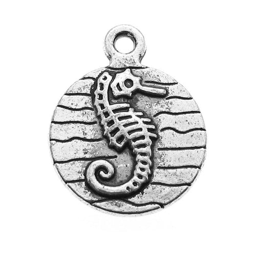 Antique Silver Seahorse Charms / Silver Double-Sided Beach Charms -- Perfect for Necklace or Bracelet [10 pieces] --  92818.B7