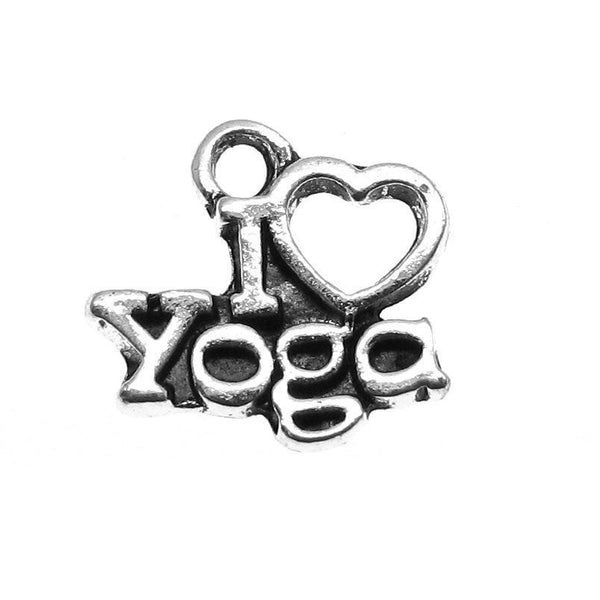 Antique Silver I Love YOGA Charms / Silver I Heart Yoga Pendants [10 pieces] -- Lead, Nickel & Cadmium Free 11116.B19