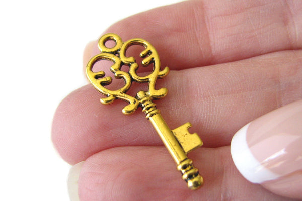Antique Golden Heart Key Charms / Victorian Gold Heart Skeleton Keys / Wedding Keys 33x14mm [10 pieces] -- Lead & Cadmium Free 11137.J5F