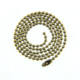 Antique Bronze 2.4mm Ball Chain Necklace with Connector [ 16-inch, 17-inch, 18-inch, 20-inch, 22-inch, 24-inch ]