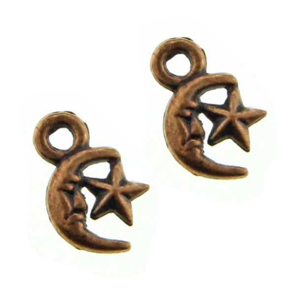 Antique Copper Moon & Star Charms / Copper Celestial Charms [ 10 pieces ] -- Lead, Nickel, Cadmium Free Jewelry Findings