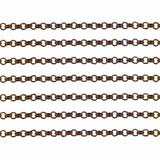 Antique Copper Petite Rolo Chain / Red Copper Cross Chain - 2.5mm x .8mm [ 16 feet / 5 yards ] -- Lead, Nickel & Cadmium Free