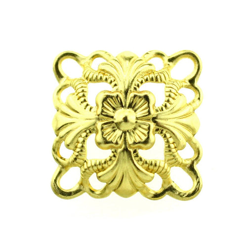 Gold Floral Filigree Links / Dapped Brass Filigree Connectors / Metal Stampings [10 pieces] -- Lead, Nickel & Cadmium Free F75650