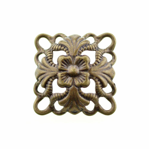 Antique Bronze Floral Filigree Links / Dapped Brass Filligree Connectors / Metal Stampings [10 pieces] -- Lead, Nickel & Cadmium Free F84518