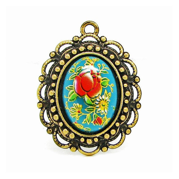 Turquoise Vintage Tensha Japanese Floral Cameo in an Antique Bronze Setting Highlighted with 18K Gold Leaf  --