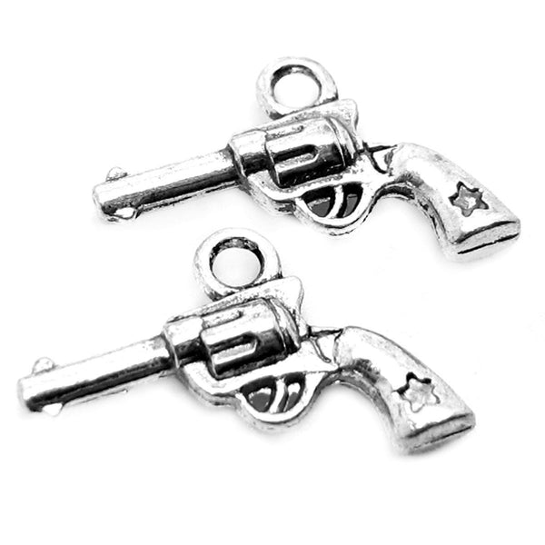 Antique Silver Gun Charms / Silver Revolver Charms / Pistol Charms (10 pieces) -- Lead, Nickel & Cadmium Free 45429.H6J