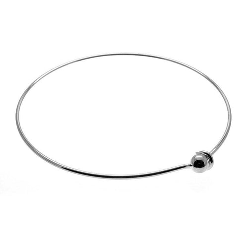 Silver Wire Bangle Bracelet / Stacking Charm Bracelet / Wire Wrapped Bangle [1 piece] -- 184.H6D