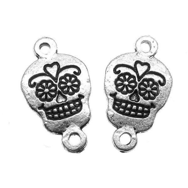 Antique Silver Sugar Skull Bracelet Connectors / Silver Day of the Dead Necklace Links [10 pieces] -- Lead, Nickel & Cadmium Free 44818.J4A