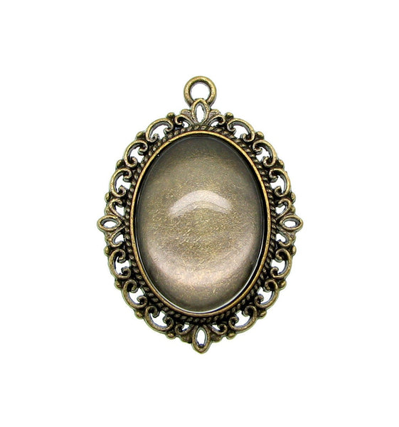 Antique Bronze Cameo Cabochon Setting / Oval Bezel with 18mm x 25mm Domed Glass Cabochon [1 piece] -- 9376.B8