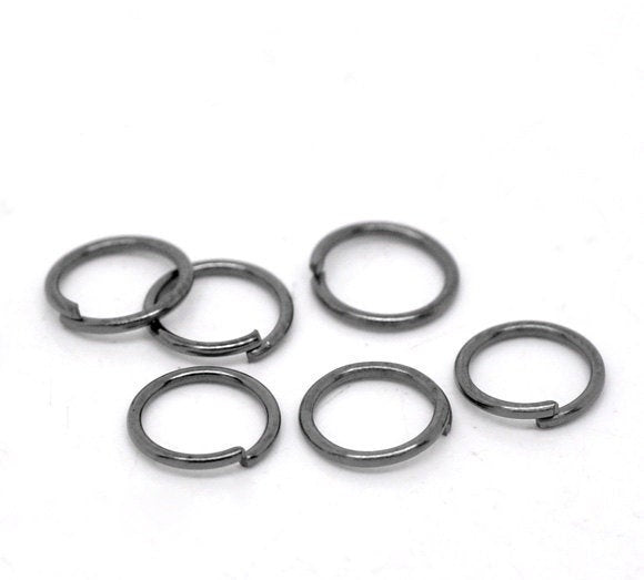 100 pieces Gunmetal Open Jump Rings 7mm x .7mm (21 Gauge) -- Lead, Nickel, & Cadmium free Jewelry Findings 7/.7-4