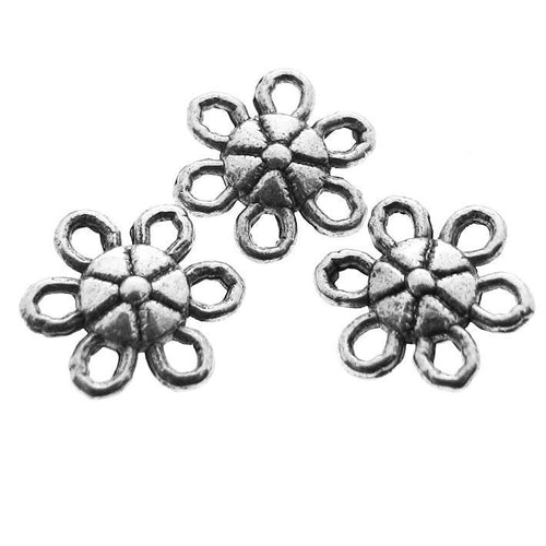 25 pieces Antique Silver Daisy Flower Connectors / Silver Flower Links -- Lead, Nickel & Cadmium Free Jewelry Findings  J1F