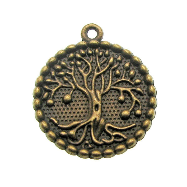 Bronze Large Tree of Life Charm / Antique Brass Tree of Life Pendant [10 pieces] --  Lead, Nickel & Cadmium Free -- Ships from the U.S.