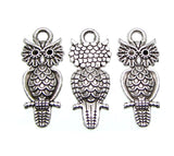 Antique Silver Double-Sided Owl Charms / Silver Owl Pendants / Owl Drops 9mm x 21.5mm [10 pieces] -- Lead, Nickel & Cadmium Free 02557.J5A