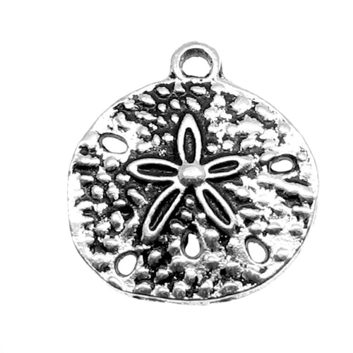 Antique Silver Sand Dollar Beach Charms [10 pieces] -- Lead, Nickel & Cadmium Free 40536.J4K