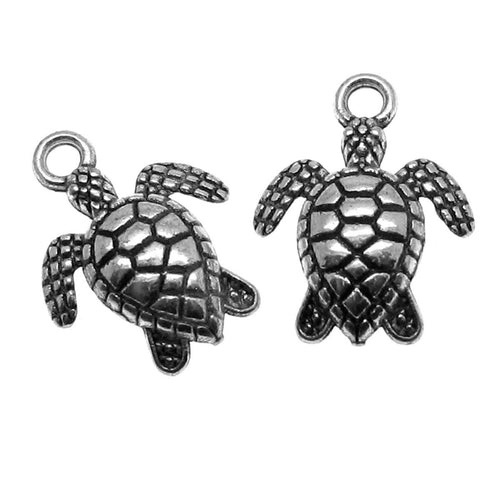 Antique Silver Double-Sided Sea Turtle Charms / Beach Charms [10 pieces] -- Lead & Nickle Free  40923.L10