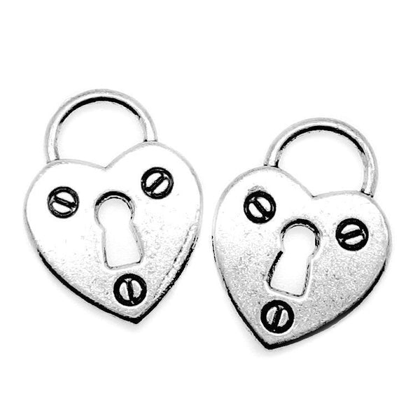 Antique Silver Heart Lock Charms / Silver Heart Skeleton Key Lock Pendants [10 pieces] -- Lead, Nickel & Cadmium Free 40621.H5C