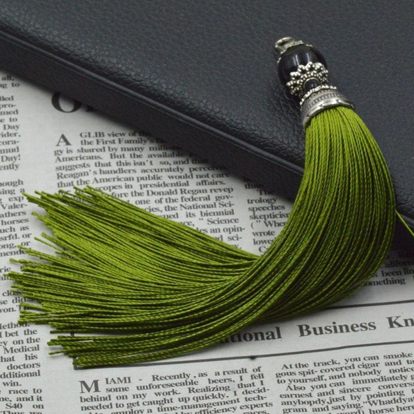 Decorative Army Green Polyester Tassel with Black Agate Bead & Antique Silver Lobster Clasp [6-1/4 inches in length]