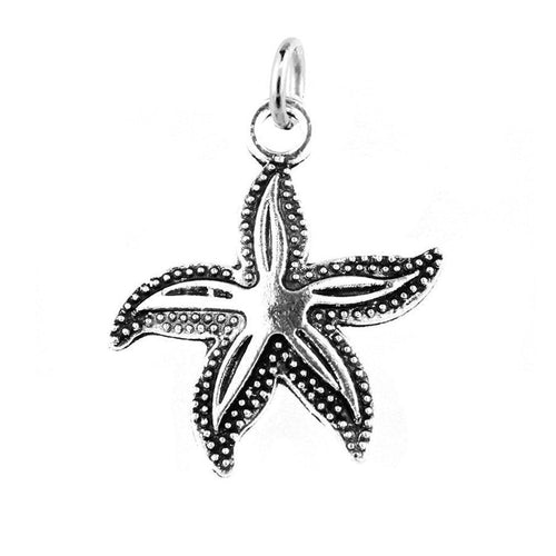 Add-A-Charm Antique Silver Starfish Beach Charm with Jump Ring [1 piece] -- Ships from U.S. -- Lead, Nickel & Cadmium Free