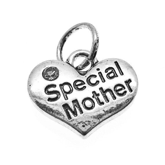 "Add-A-Charm Antique Silver Stamped ""Special Mother"" Heart Charm with Clear Rhinestone and Jump Ring (Double-sided) [1 piece] -- SCH55022 B31"