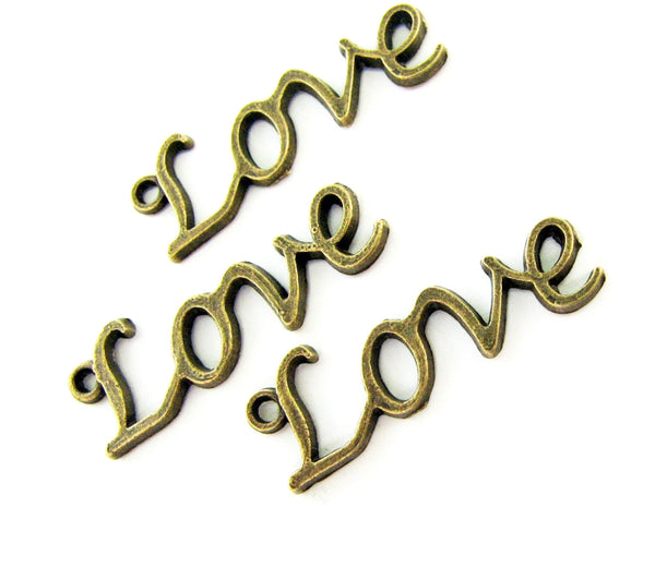 Antique Bronze Love Charms (Slightly Defective) [10 pieces] -- Lead, Nickel & Cadmium Free J4B