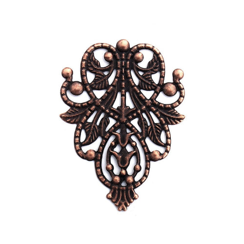 Antique Copper Filigree Connectors / Filligree Metal Stampings / Embellishments
