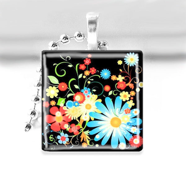 Floral Fantasy Glass Tile Pendant with Ball Chain Necklace