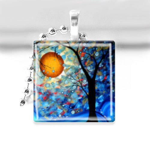 Winter Tree in the Moonlight Glass Tile Pendant with Ball Chain Necklace