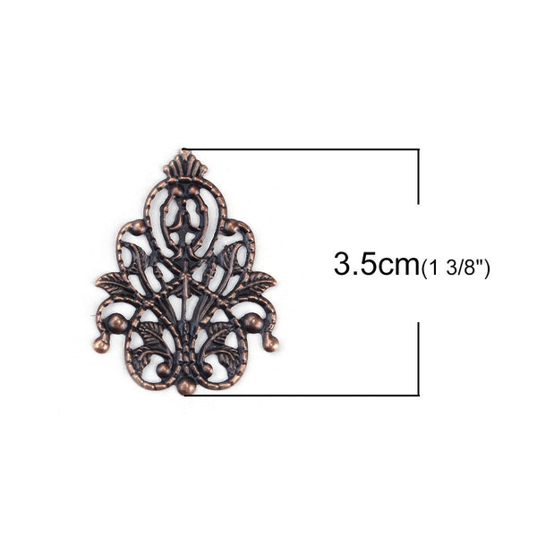 Antique Copper Filigree Stampings / Embellishments