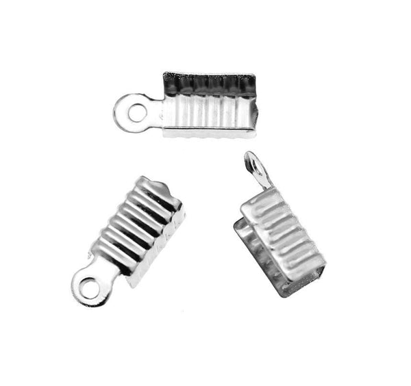 Antique Silver Fold Over Crimp Cord Ends / 12mm x 5mm Ribbon Crimp Ends [10 pieces] -- Perfect for Necklaces and Bracelets 80949-P.Q