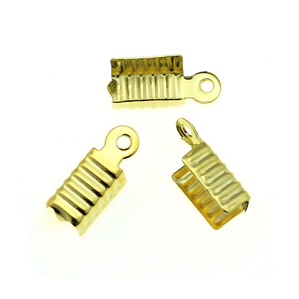 Gold Fold Over Crimp Cord Ends / 12mm x 5mm Ribbon Crimp Ends [10 pieces] -- Perfect for Necklaces and Bracelets 80949-G.Q