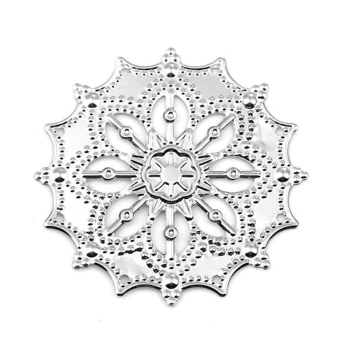 Silver Filigree Metal Stampings / Filligree Embellishments [10 pieces] -- Great for Jewelry Making or Scrapbooking F115803