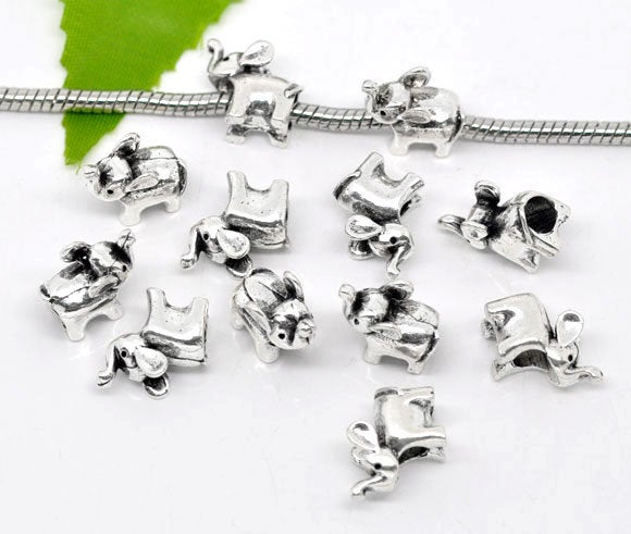 Antique Silver Elephant Large Hole European Bead -- Hole 4.7mm [1 piece] -- Fits most European Bracelets [E-09448]