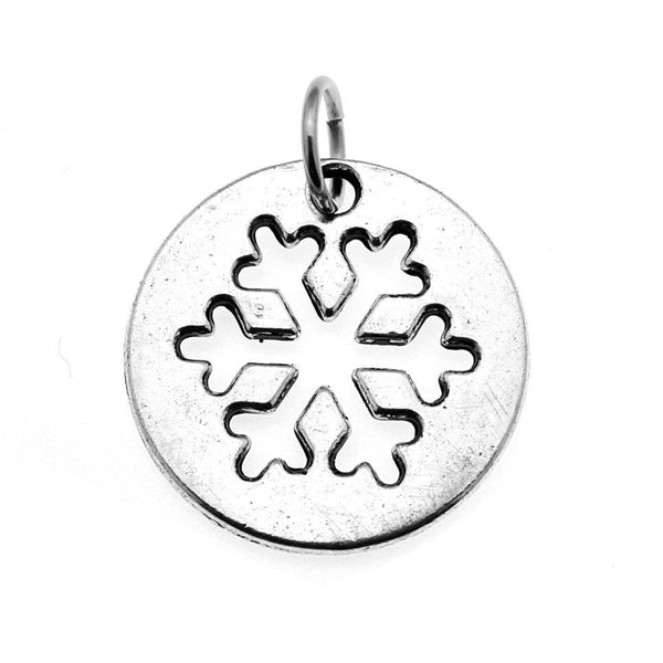 Add-A-Charm Antique Silver Snowflake Charm with Jump RIng [1 piece] -- Lead, Nickel & Cadmium free 94606.N