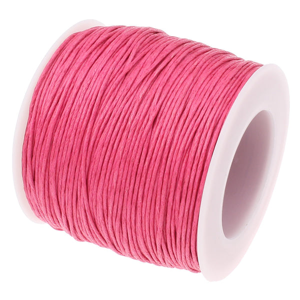 Waxed Cord :  Pink Rose 1mm Waxed Cord String / Bracelet Cord / Macrame Cord / Chinese Knotting Cord [30 feet]  -- 139-30