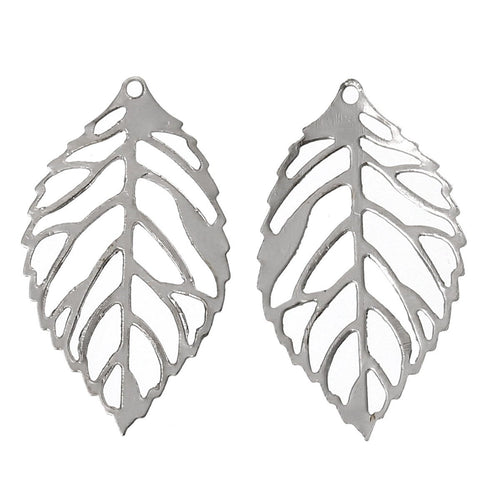 Silver Filigree Leaf Charms / Filigree Leaf Metal Stampings / Embellishments