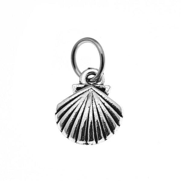 Add-A-Charm Antique Silver Seashell Charm [1 piece] with Jump Ring * Perfect for Necklace, Bracelet or Scrap booking -- 51912.B8