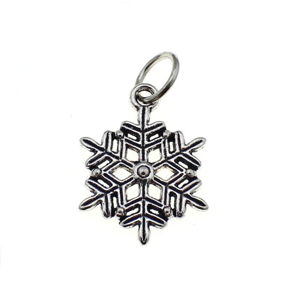 Add-A-Charm Antique Silver Winter Snowflake Charm [1 piece] with Jump Ring -- Lead, Nickel & Cadmium Free 12765.B8